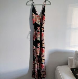 Reformation Citrine Dress, Black Floral, One Size